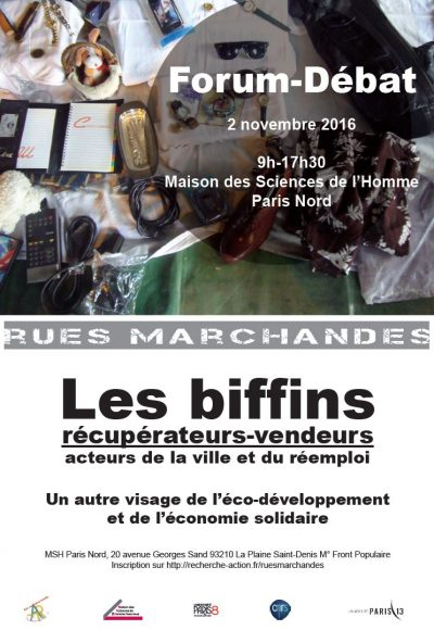 Actes du forum les biffins récupérateurs-vendeurs, acteurs de la ville et du réemploi